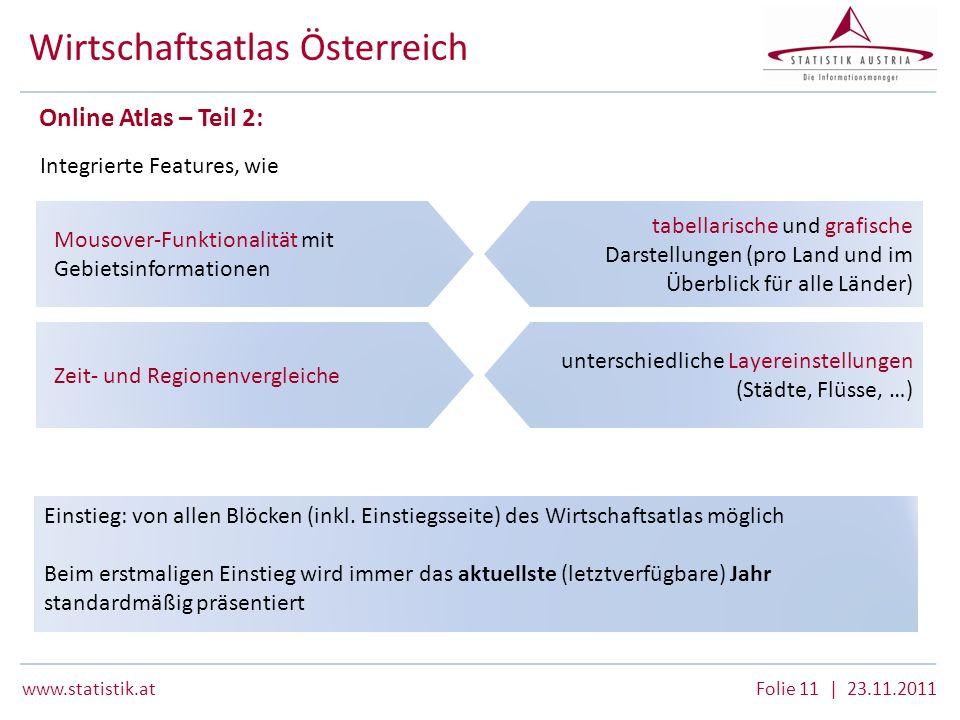 www.statistik.atFolie 11 | 23.11.2011 Wirtschaftsatlas Österreich Online Atlas – Teil 2: Integrierte Features, wie Mousover-Funktionalität mit Gebiets