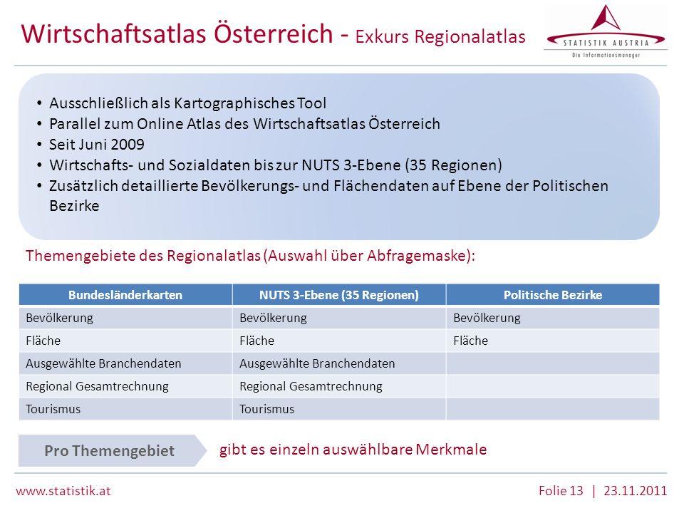 www.statistik.atFolie 13 | 23.11.2011 Wirtschaftsatlas Österreich - Exkurs Regionalatlas Themengebiete des Regionalatlas (Auswahl über Abfragemaske):