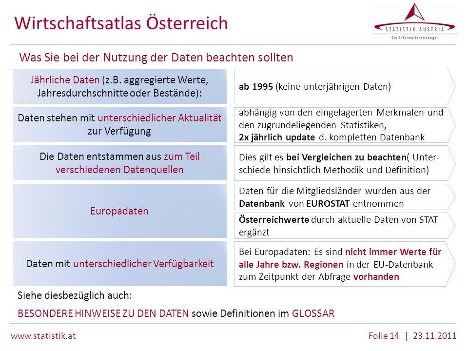 www.statistik.atFolie 14 | 23.11.2011 Wirtschaftsatlas Österreich Die Daten entstammen aus zum Teil verschiedenen Datenquellen Dies gilt es bei Vergle