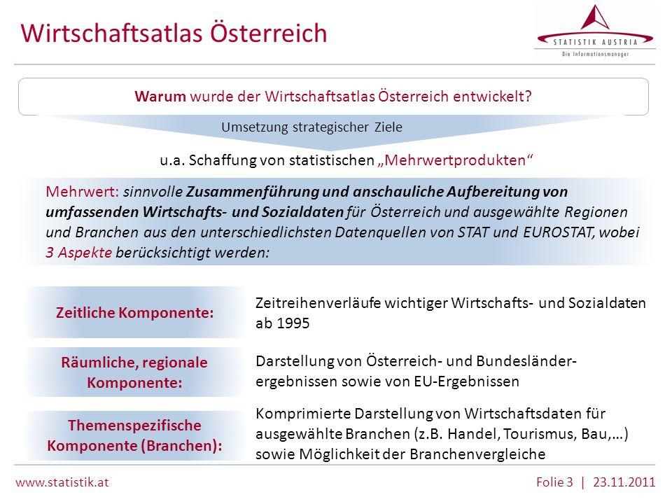 www.statistik.atFolie 3 | 23.11.2011 Wirtschaftsatlas Österreich Warum wurde der Wirtschaftsatlas Österreich entwickelt? u.a. Schaffung von statistisc