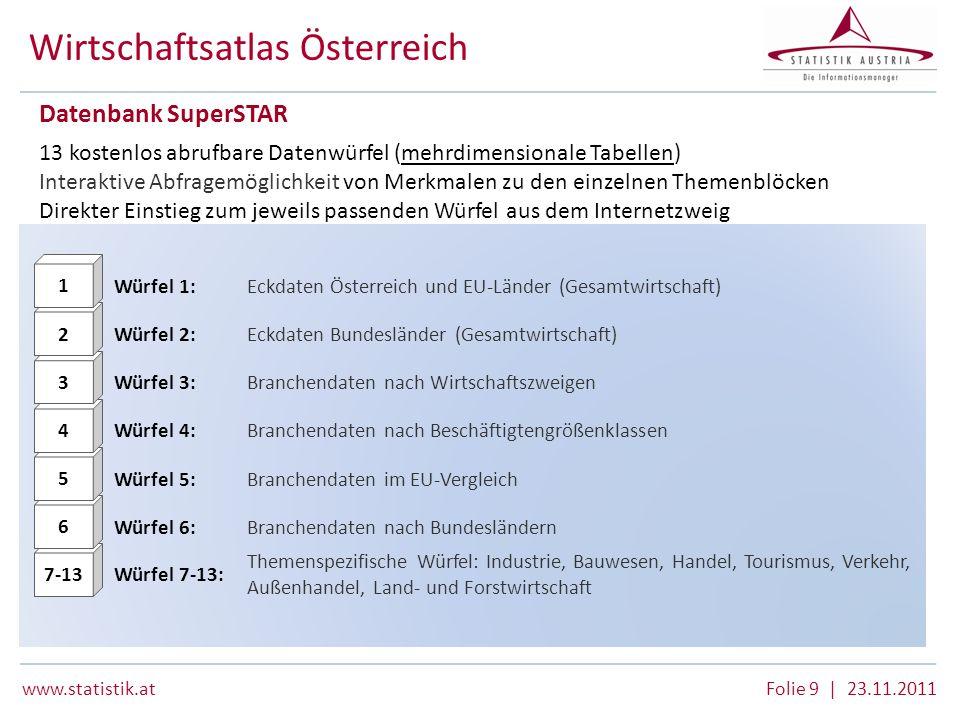 www.statistik.atFolie 9 | 23.11.2011 Wirtschaftsatlas Österreich Datenbank SuperSTAR 13 kostenlos abrufbare Datenwürfel (mehrdimensionale Tabellen) In