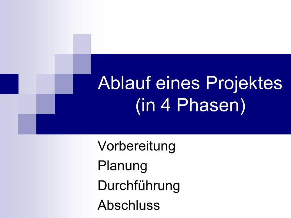 Ablauf eines Projektes (in 4 Phasen) Vorbereitung Planung Durchführung Abschluss