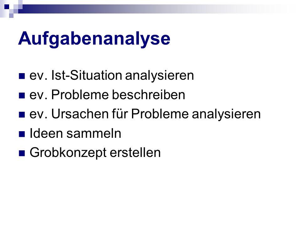 Aufgabenanalyse ev. Ist-Situation analysieren ev. Probleme beschreiben ev. Ursachen für Probleme analysieren Ideen sammeln Grobkonzept erstellen