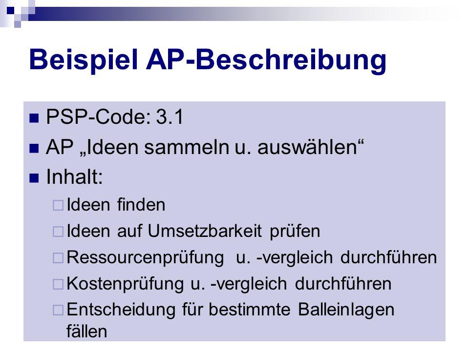 Beispiel AP-Beschreibung PSP-Code: 3.1 AP Ideen sammeln u. auswählen Inhalt: Ideen finden Ideen auf Umsetzbarkeit prüfen Ressourcenprüfung u. -verglei