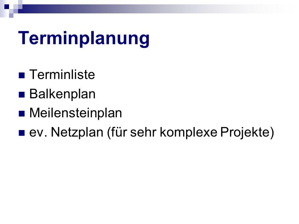Terminplanung Terminliste Balkenplan Meilensteinplan ev. Netzplan (für sehr komplexe Projekte)