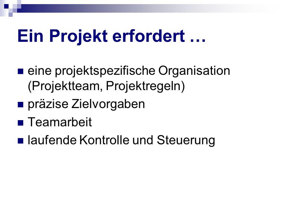 Ein Projekt erfordert … eine projektspezifische Organisation (Projektteam, Projektregeln) präzise Zielvorgaben Teamarbeit laufende Kontrolle und Steue