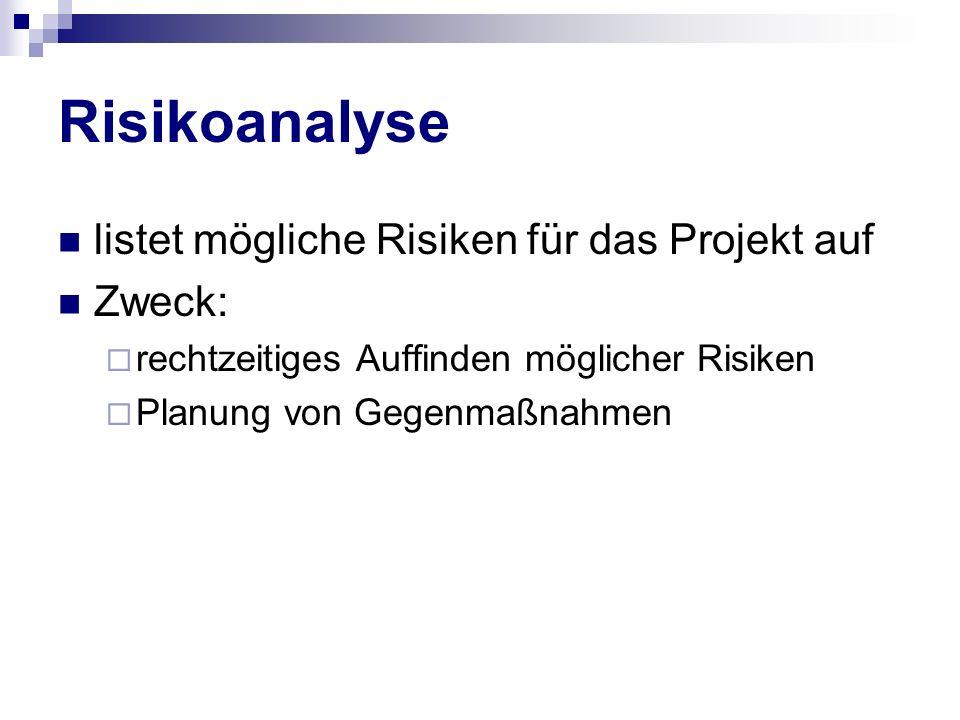 Risikoanalyse listet mögliche Risiken für das Projekt auf Zweck: rechtzeitiges Auffinden möglicher Risiken Planung von Gegenmaßnahmen