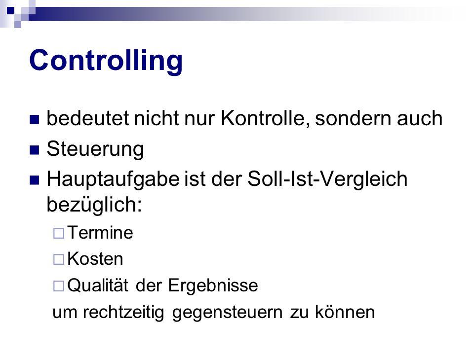 Controlling bedeutet nicht nur Kontrolle, sondern auch Steuerung Hauptaufgabe ist der Soll-Ist-Vergleich bezüglich: Termine Kosten Qualität der Ergebn