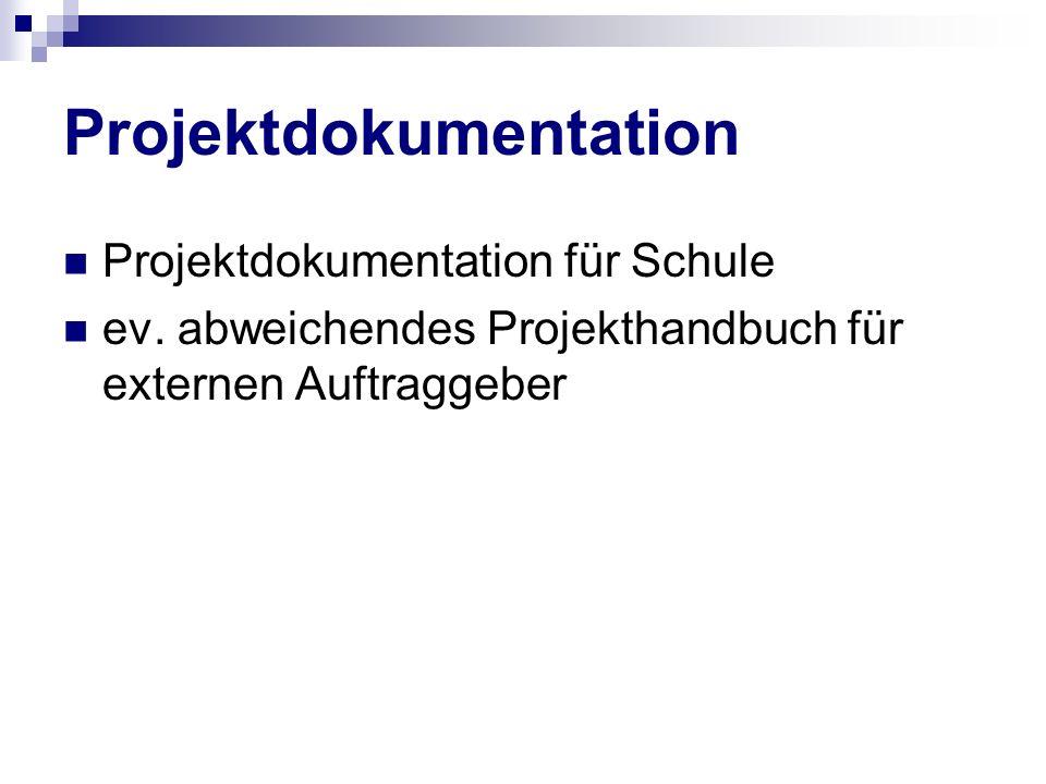 Projektdokumentation Projektdokumentation für Schule ev. abweichendes Projekthandbuch für externen Auftraggeber