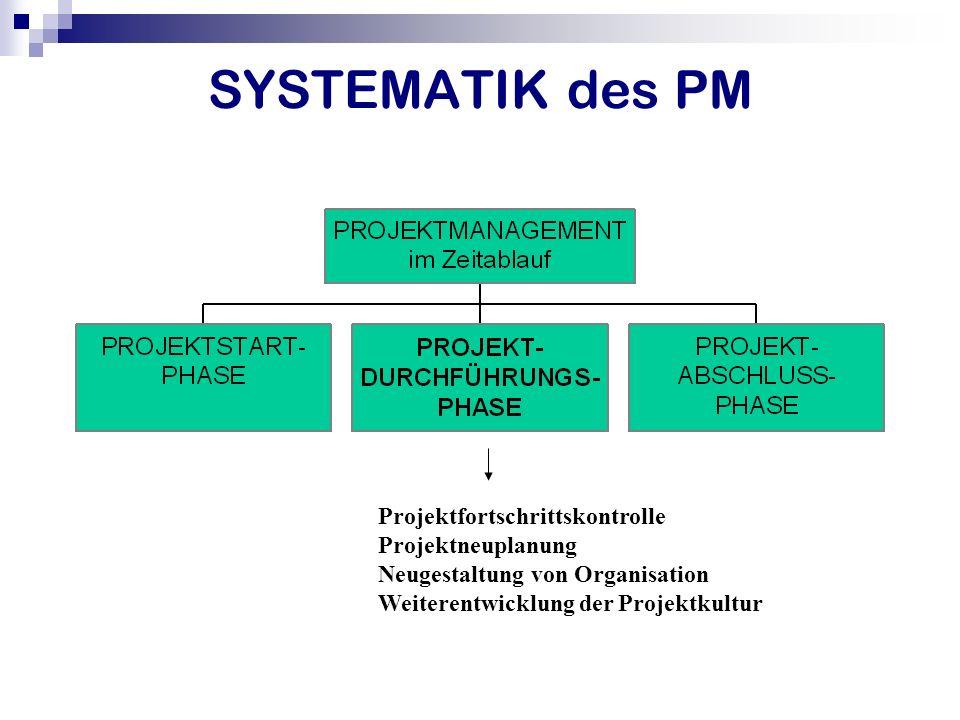 SYSTEMATIK des PM Projektfortschrittskontrolle Projektneuplanung Neugestaltung von Organisation Weiterentwicklung der Projektkultur
