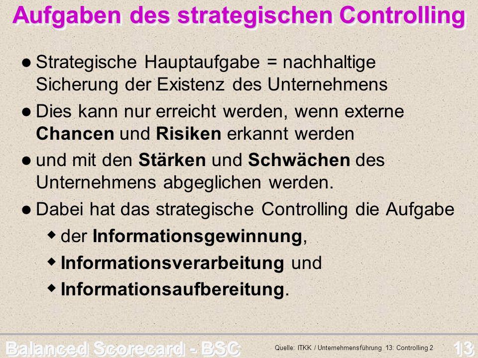 Balanced Scorecard - BSC 13 Aufgaben des strategischen Controlling Strategische Hauptaufgabe = nachhaltige Sicherung der Existenz des Unternehmens Die