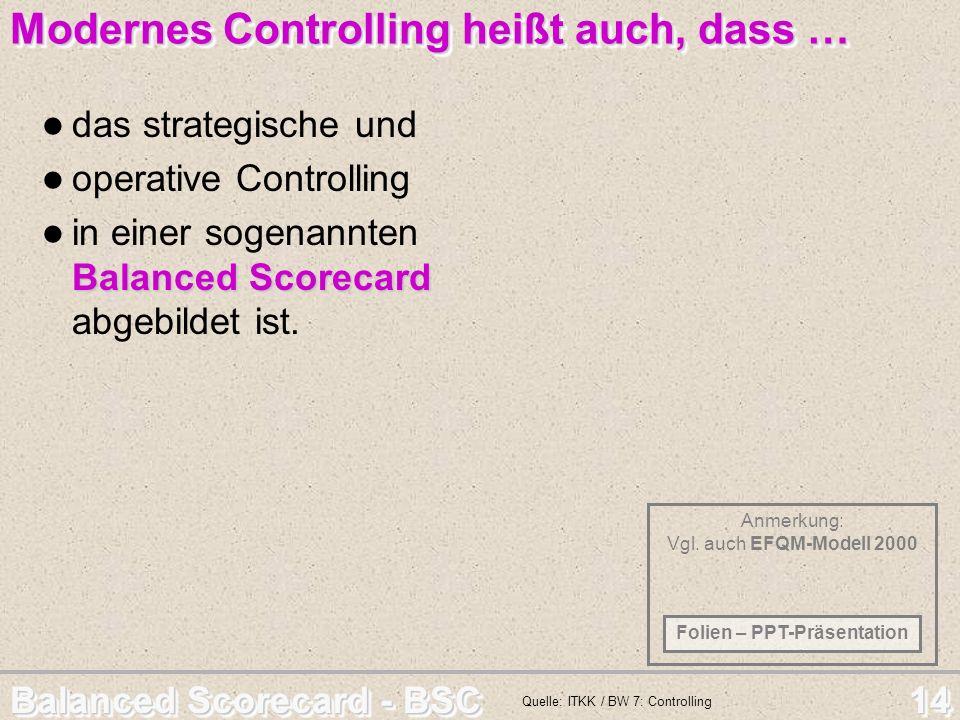 Balanced Scorecard - BSC 14 Anmerkung: Vgl. auch EFQM-Modell 2000 Modernes Controlling heißt auch, dass … Modernes Controlling heißt auch, dass … das