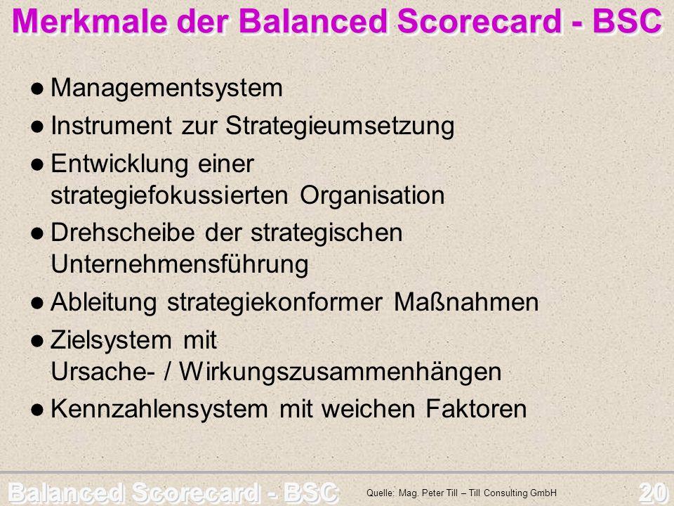 Balanced Scorecard - BSC 20 Merkmale der Balanced Scorecard - BSC Managementsystem Instrument zur Strategieumsetzung Entwicklung einer strategiefokuss