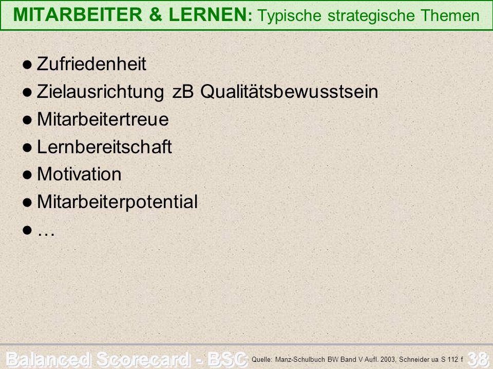 Balanced Scorecard - BSC 38 MITARBEITER & LERNEN : Typische strategische Themen Zufriedenheit Zielausrichtung zB Qualitätsbewusstsein Mitarbeitertreue