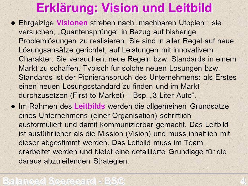 Balanced Scorecard - BSC 4 Erklärung: Vision und Leitbild Ehrgeizige Visionen streben nach machbaren Utopien; sie versuchen, Quantensprünge in Bezug a