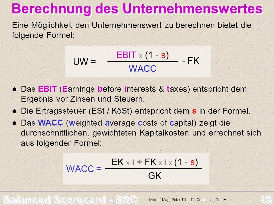 Balanced Scorecard - BSC 45 Berechnung des Unternehmenswertes Berechnung des Unternehmenswertes Eine Möglichkeit den Unternehmenswert zu berechnen bie