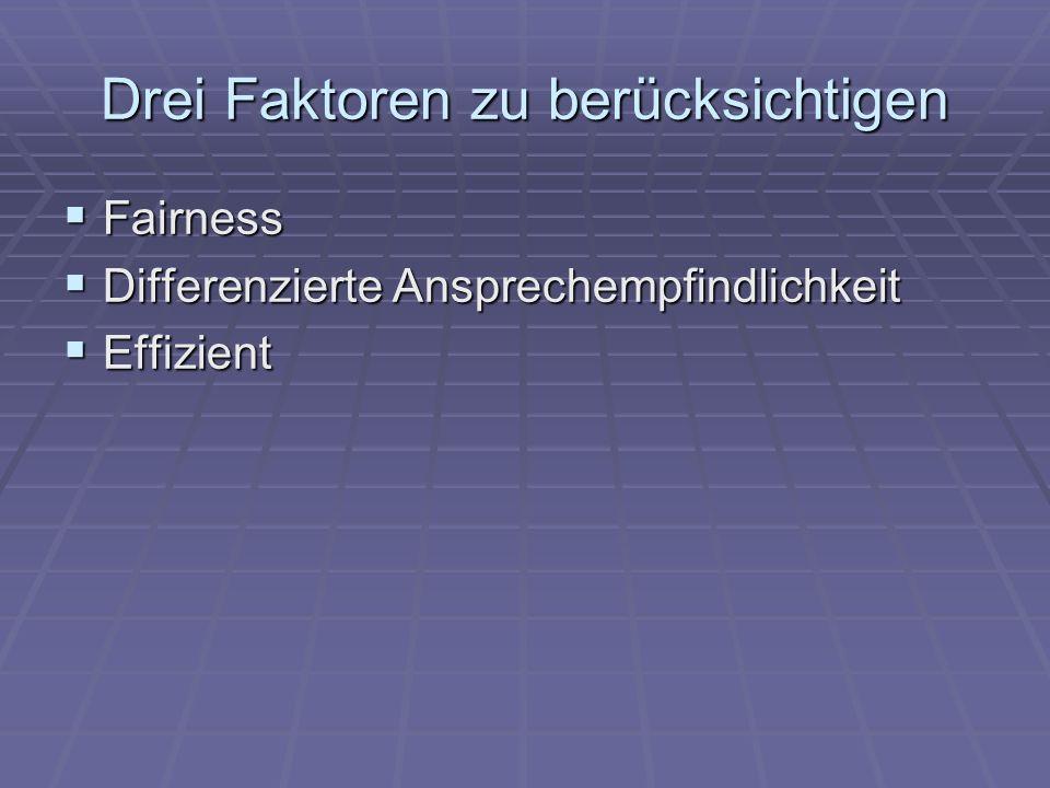 Drei Faktoren zu berücksichtigen Fairness Fairness Differenzierte Ansprechempfindlichkeit Differenzierte Ansprechempfindlichkeit Effizient Effizient