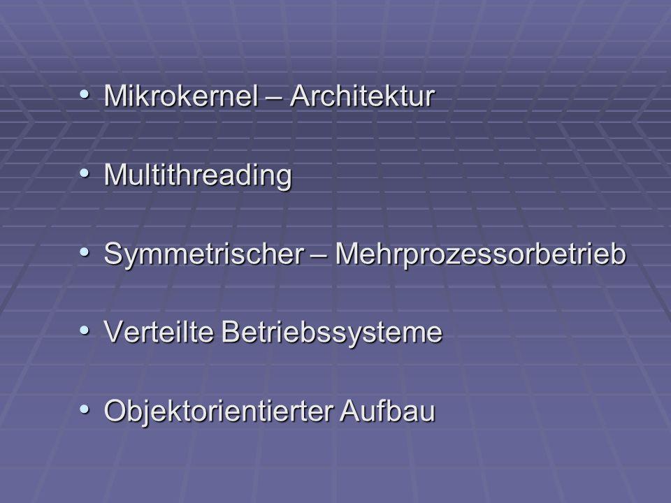 Mikrokernel - Architektur Unterstützt : Adressräume Adressräume Interprozesskommunikation Interprozesskommunikation grundlegende Scheduling grundlegende SchedulingVorteile: vereinfacht die Implementierung vereinfacht die Implementierung flexibel flexibel