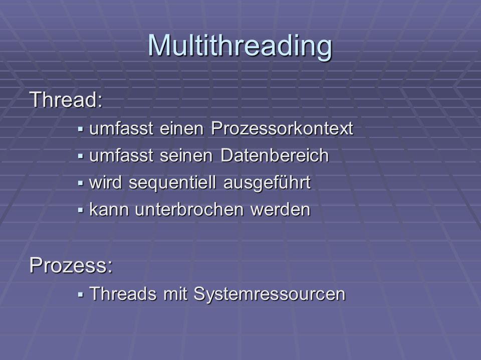 Multithreading Thread: umfasst einen Prozessorkontext umfasst einen Prozessorkontext umfasst seinen Datenbereich umfasst seinen Datenbereich wird sequ