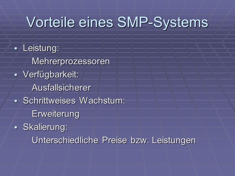 Vorteile eines SMP-Systems Leistung: Leistung: Mehrerprozessoren Mehrerprozessoren Verfügbarkeit: Verfügbarkeit: Ausfallsicherer Ausfallsicherer Schri