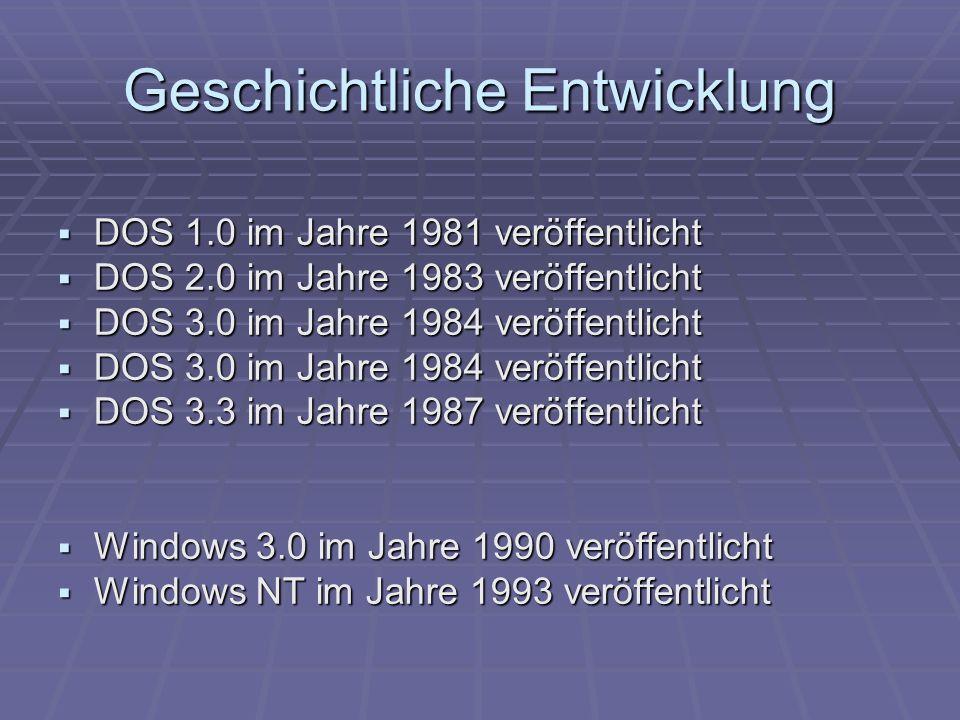 Geschichtliche Entwicklung DOS 1.0 im Jahre 1981 veröffentlicht DOS 1.0 im Jahre 1981 veröffentlicht DOS 2.0 im Jahre 1983 veröffentlicht DOS 2.0 im J