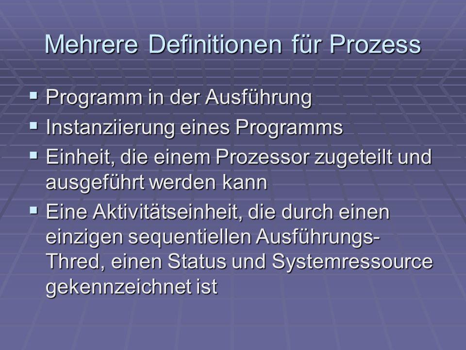 Mehrere Definitionen für Prozess Programm in der Ausführung Programm in der Ausführung Instanziierung eines Programms Instanziierung eines Programms E