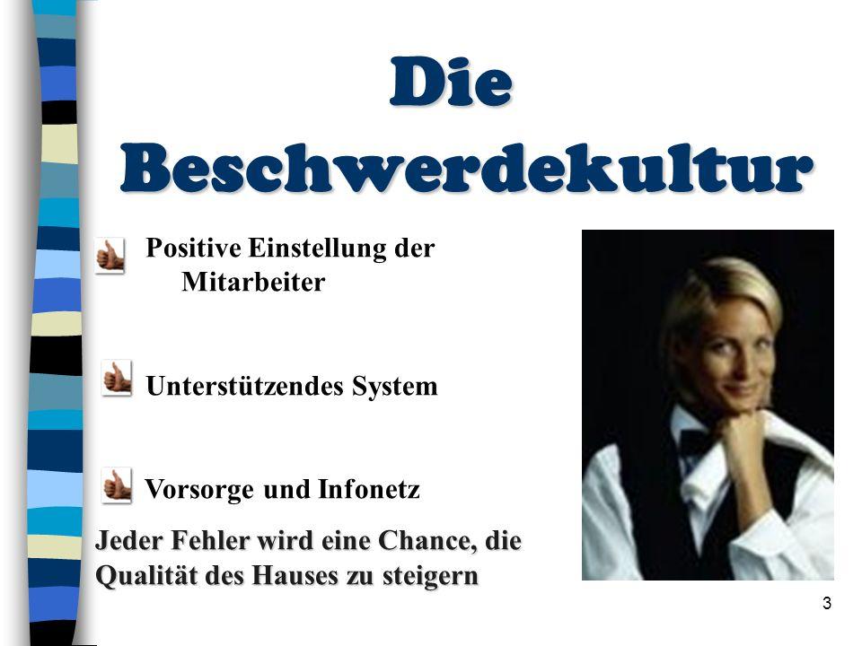 3 Die Beschwerdekultur Die Beschwerdekultur Positive Einstellung der Mitarbeiter Unterstützendes System Vorsorge und Infonetz Jeder Fehler wird eine C