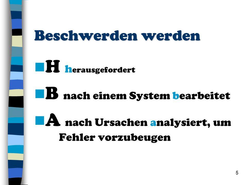 5 Beschwerden werden H h erausgefordert B nach einem System bearbeitet A nach Ursachen analysiert, um Fehler vorzubeugen