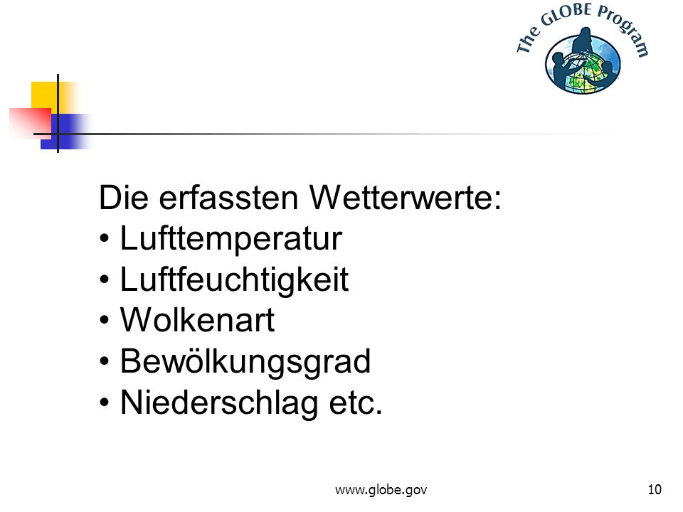 www.globe.gov10 Die erfassten Wetterwerte: Lufttemperatur Luftfeuchtigkeit Wolkenart Bewölkungsgrad Niederschlag etc.