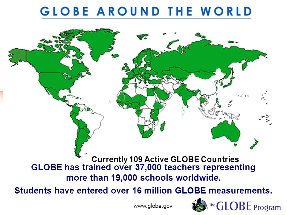 www.globe.gov4 Currently 109 Active GLOBE Countries GLOBE has trained over 37,000 teachers representing more than 19,000 schools worldwide. Students h
