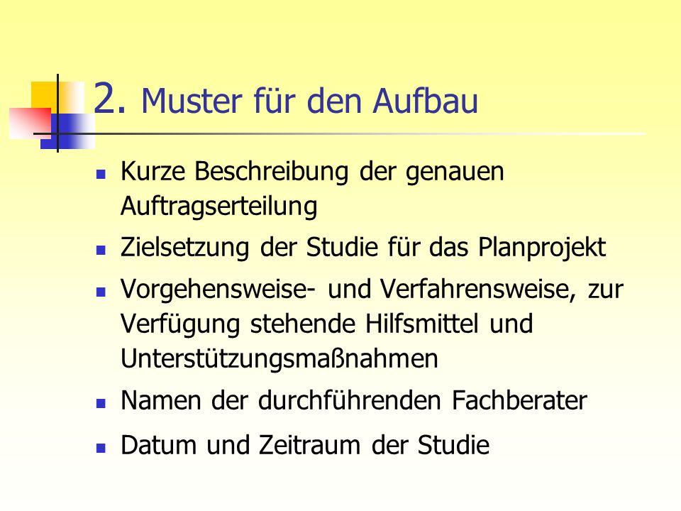 2. Muster für den Aufbau Kurze Beschreibung der genauen Auftragserteilung Zielsetzung der Studie für das Planprojekt Vorgehensweise- und Verfahrenswei