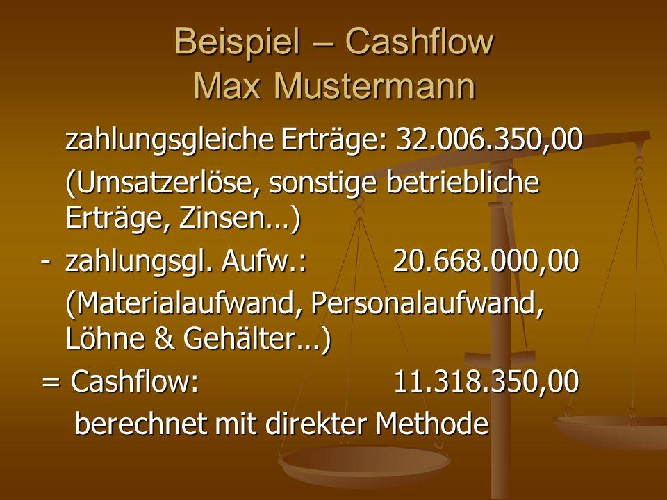 Beispiel – Cashflow Max Mustermann zahlungsgleiche Erträge: 32.006.350,00 (Umsatzerlöse, sonstige betriebliche Erträge, Zinsen…) -zahlungsgl. Aufw.: 2