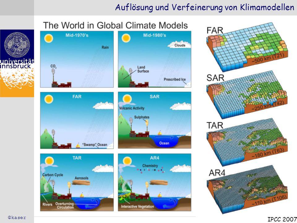 Auflösung und Verfeinerung von Klimamodellen IPCC 2007 ©kaser