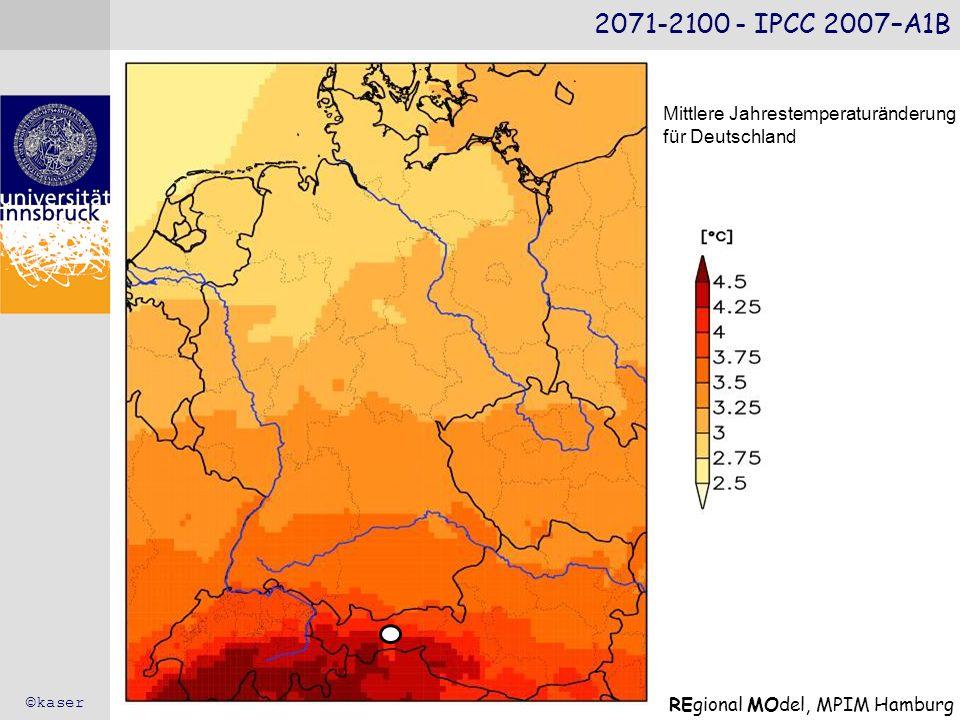 2071-2100 - IPCC 2007–A1B ©kaser REgional MOdel, MPIM Hamburg Mittlere Jahrestemperaturänderung für Deutschland