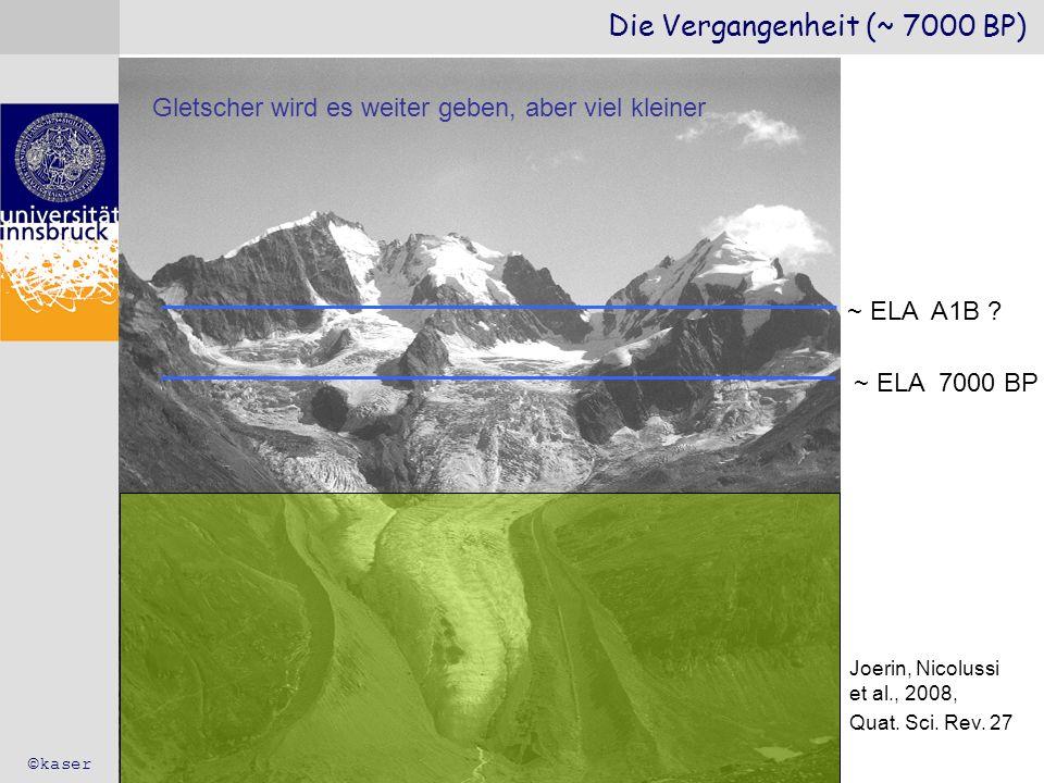 Die Vergangenheit (~ 7000 BP) ©kaser Joerin, Nicolussi et al., 2008, Quat. Sci. Rev. 27 ~ ELA 7000 BP ~ ELA A1B ? Gletscher wird es weiter geben, aber