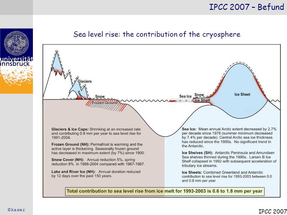 Der Energiegehalt im System Erde nimmt zu (global warming) – die Ozeane werden wärmer – die Atmosphäre wird wärmer – die Eismassen nehmen ab – der Meeresspiegel steigt Schneedecke nimmt in ihrer Verbreitung ab, Schneegrenze steigt massiv an (ähnlich 10.000 – 5000 v.h.) Großflächige Zunahme der Auftautiefe im Permafrost Meereis nimmt in Arktis und Antarktis deutlich ab In manchen Vorhersagen verschwindet das spätsommerliche arktische Meereis fast vollständig am Ende des 21.
