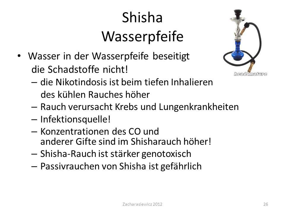Shisha Wasserpfeife Wasser in der Wasserpfeife beseitigt die Schadstoffe nicht.