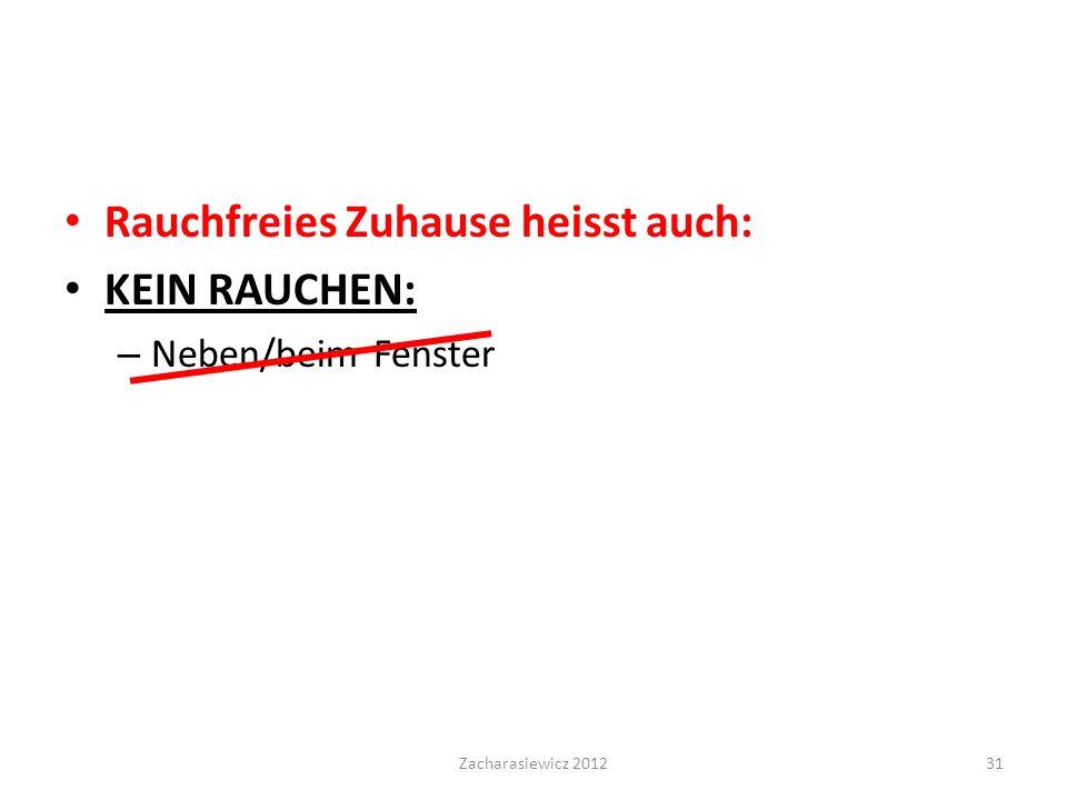 Rauchfreies Zuhause heisst auch: KEIN RAUCHEN: – Neben/beim Fenster Zacharasiewicz 201231