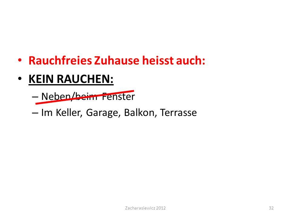 Rauchfreies Zuhause heisst auch: KEIN RAUCHEN: – Neben/beim Fenster – Im Keller, Garage, Balkon, Terrasse Zacharasiewicz 201232