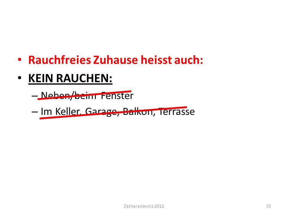Rauchfreies Zuhause heisst auch: KEIN RAUCHEN: – Neben/beim Fenster – Im Keller, Garage, Balkon, Terrasse Zacharasiewicz 201233