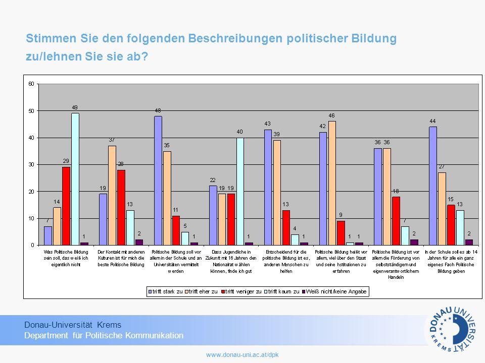 Donau-Universität Krems Department für Politische Kommunikation www.donau-uni.ac.at/dpk Stimmen Sie den folgenden Beschreibungen politischer Bildung z