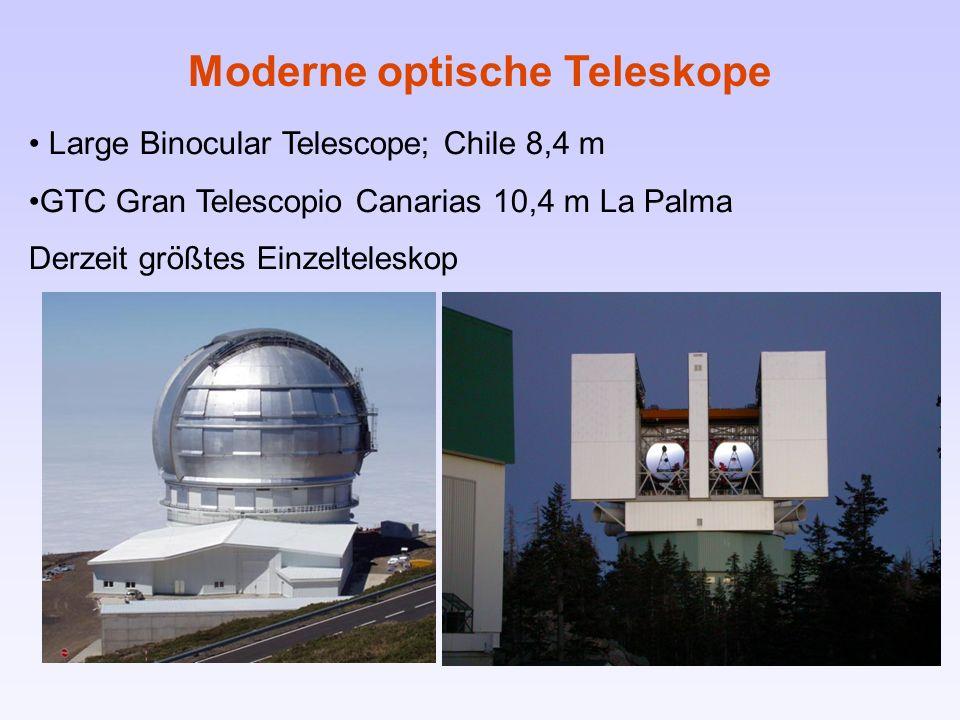 Large Binocular Telescope; Chile 8,4 m GTC Gran Telescopio Canarias 10,4 m La Palma Derzeit größtes Einzelteleskop Moderne optische Teleskope