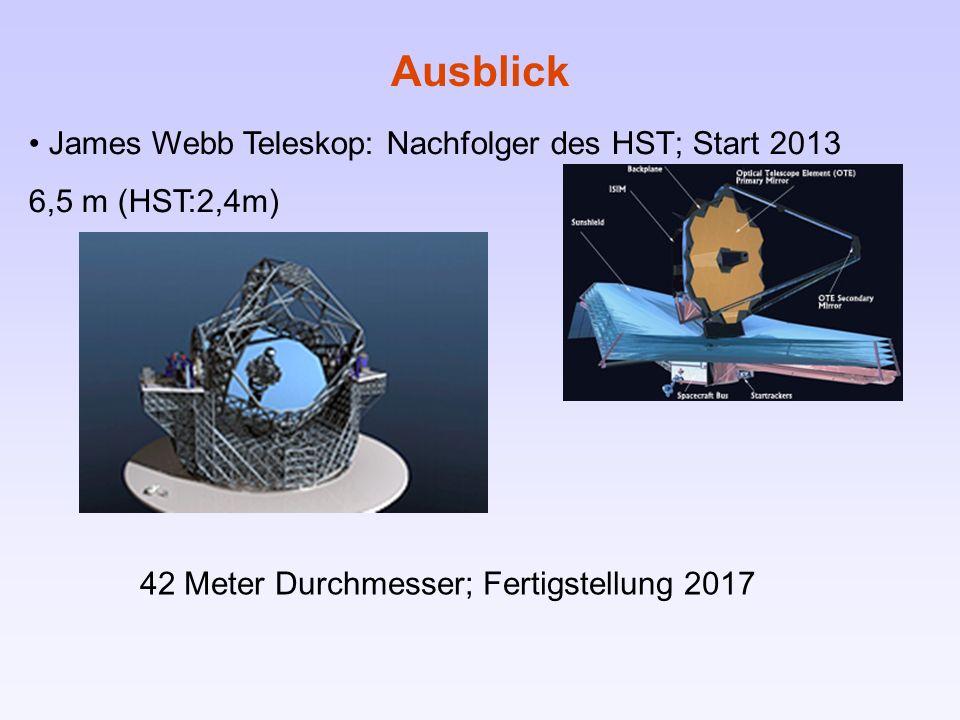 James Webb Teleskop: Nachfolger des HST; Start 2013 6,5 m (HST:2,4m) Ausblick 42 Meter Durchmesser; Fertigstellung 2017