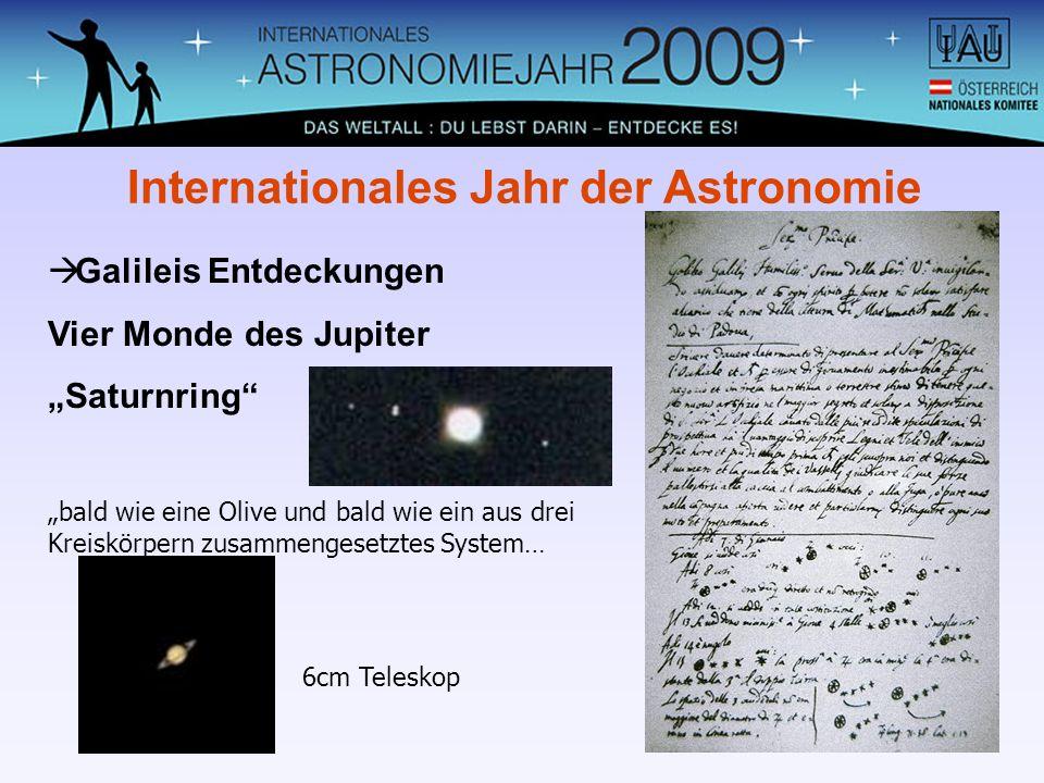 Galileis Entdeckungen Vier Monde des Jupiter Saturnring Internationales Jahr der Astronomie bald wie eine Olive und bald wie ein aus drei Kreiskörpern