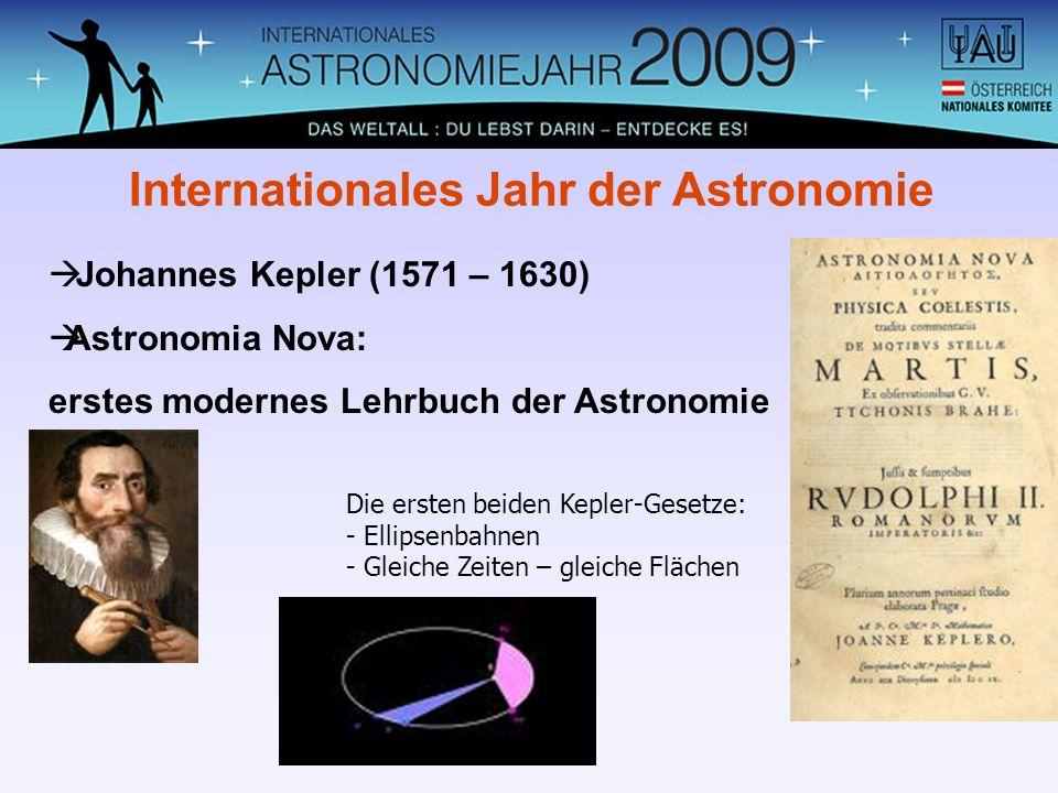 Johannes Kepler (1571 – 1630) Astronomia Nova: erstes modernes Lehrbuch der Astronomie Internationales Jahr der Astronomie Die ersten beiden Kepler-Ge