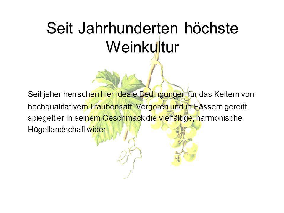 Seit Jahrhunderten höchste Weinkultur Seit jeher herrschen hier ideale Bedingungen für das Keltern von hochqualitativem Traubensaft.