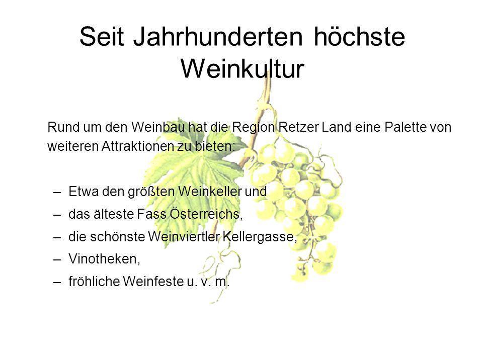 Seit Jahrhunderten höchste Weinkultur Rund um den Weinbau hat die Region Retzer Land eine Palette von weiteren Attraktionen zu bieten: –Etwa den größten Weinkeller und –das älteste Fass Österreichs, –die schönste Weinviertler Kellergasse, –Vinotheken, –fröhliche Weinfeste u.