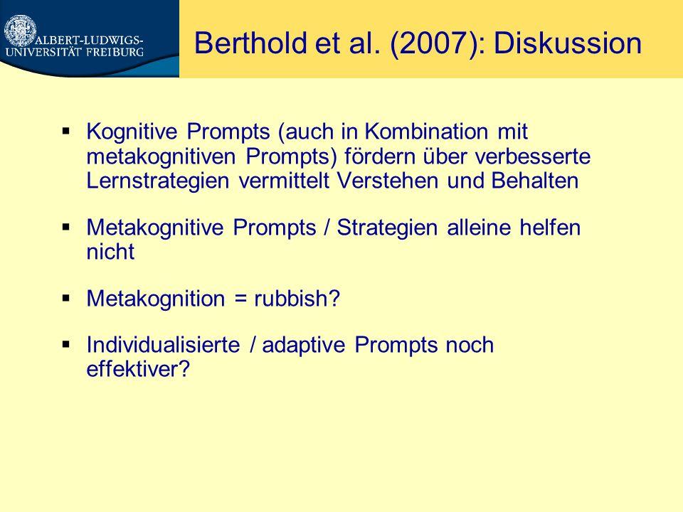 Adaptive Prompts Schwonke, Hauser, Nückles & Renkl (2006).