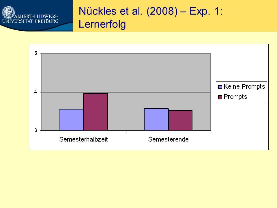 Nückles et al. (in press) – Exp. 1: Interesse/Spass