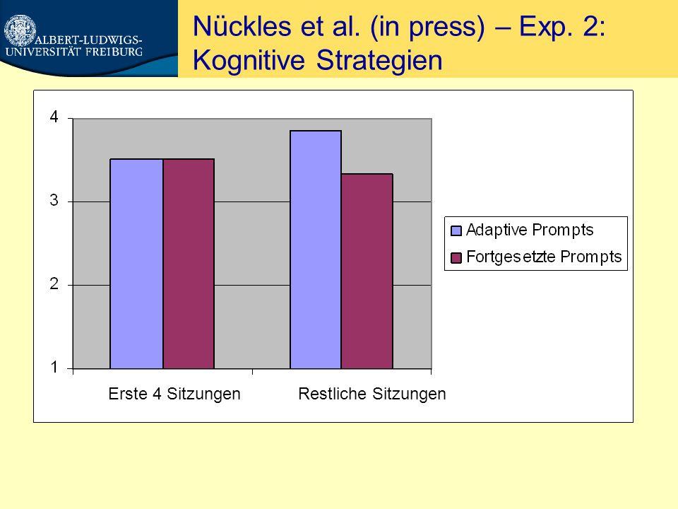 Nückles et al. (in press) – Exp. 2: Lernerfolg